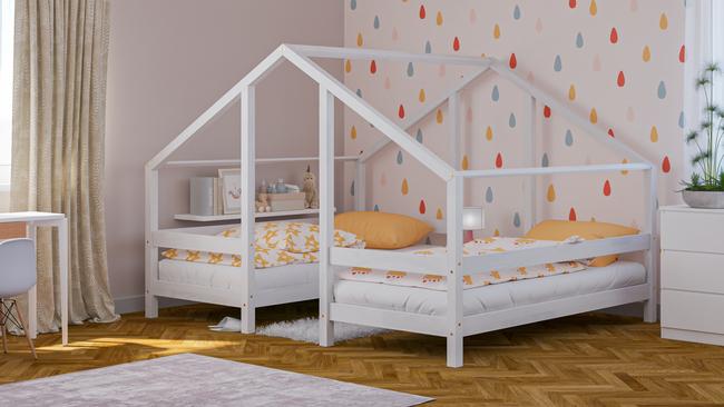 Cama de madera maciza, cama escandinava, cama infantil, cama individual, cama ecológica, cama eco, cama del estilo escandinavo, cama casita, cama de forma de casita, cama doble, cama para hermanos