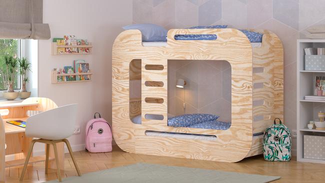 Cama infantil, cama para niños, cama de contrachapado, cama escandinava, cama doble, camas ecológicas, camas eco, muebles de contrachapado, camas del estilo escandinavo, cama alta, camas altas