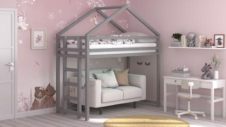 Cama de madera maciza, cama escandinava, cama infantil, cama individual, cama ecológica, cama eco, cama del estilo escandinavo, cama infantil, cama para niños, camas infantiles, cama alta infantil, cama alta para niños, cama casita, cama alta casita