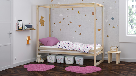 Cama de madera maciza, cama escandinava, cama infantil, cama individual, cama ecológica, cama eco, cama del estilo escandinavo, cama casita, cama con dosel